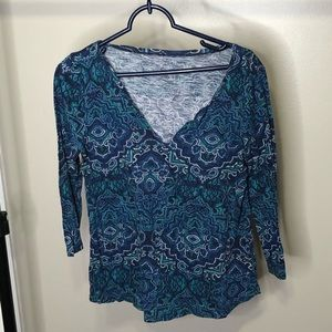 Lucky Brand Long Sleeve Blue Floral Blouse